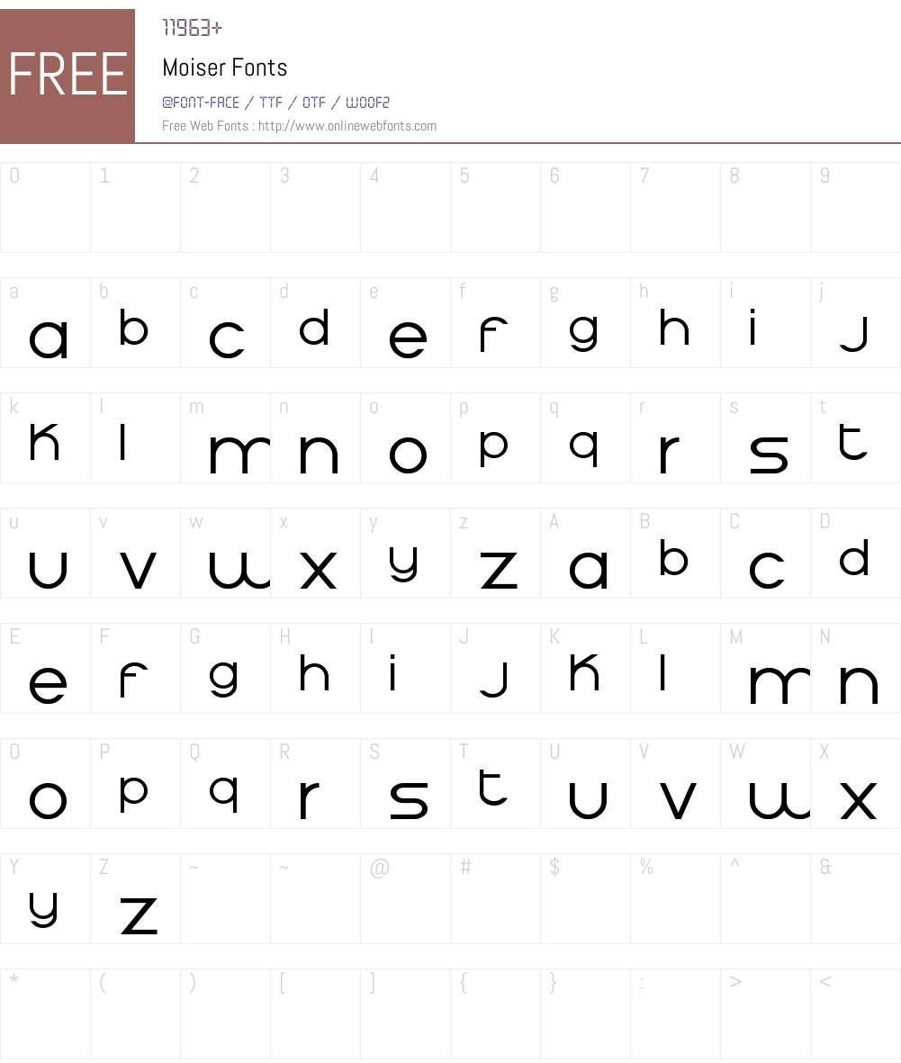 Moiser Font Screenshots