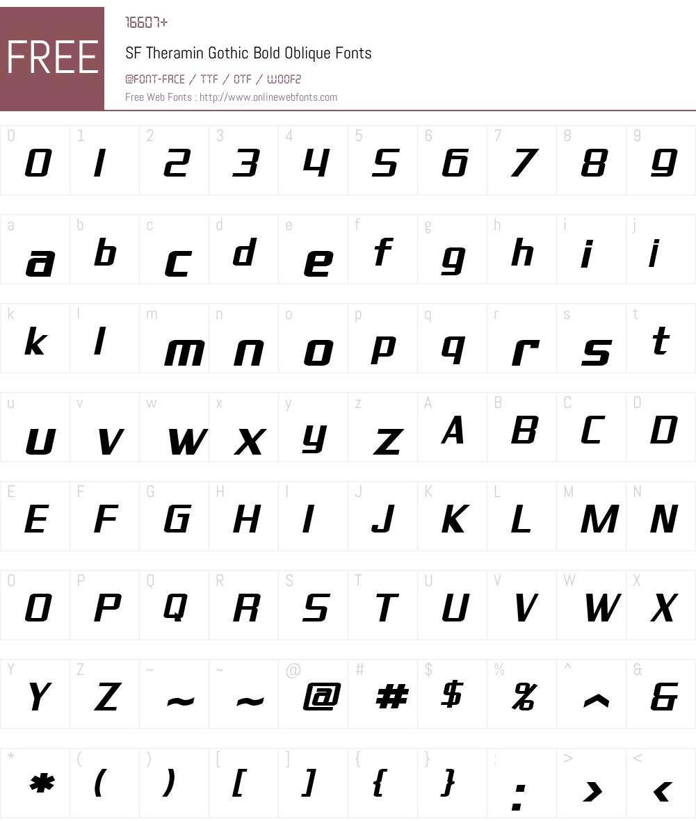 SF Theramin Gothic Font Screenshots