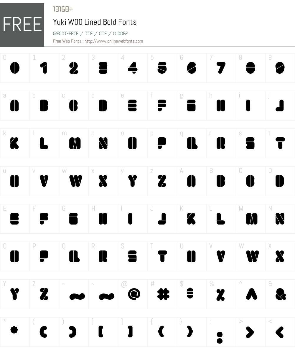 YukiW00-LinedBold Font Screenshots