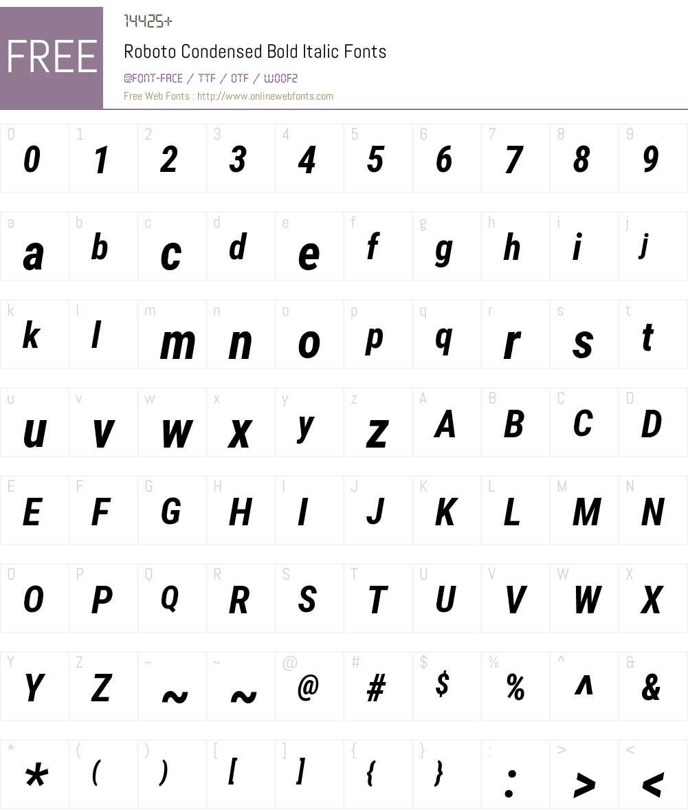 Roboto Condensed Font Screenshots