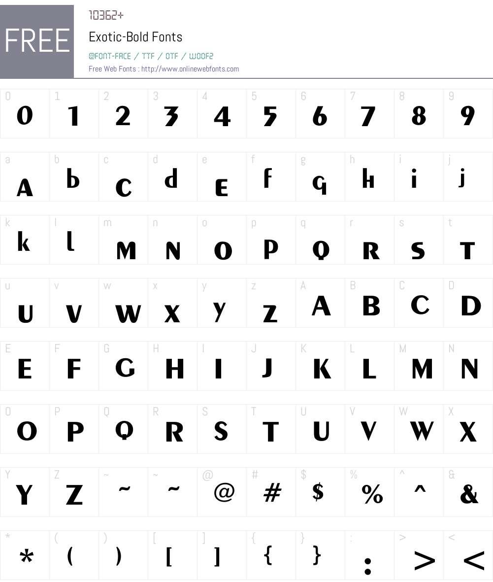 Exotic-Bold Font Screenshots