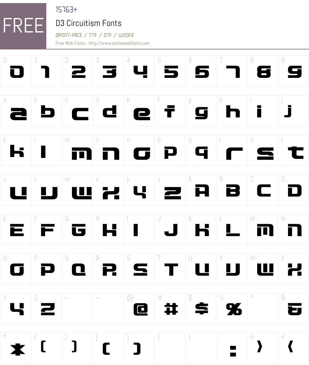 D3 Circuitism Font Screenshots