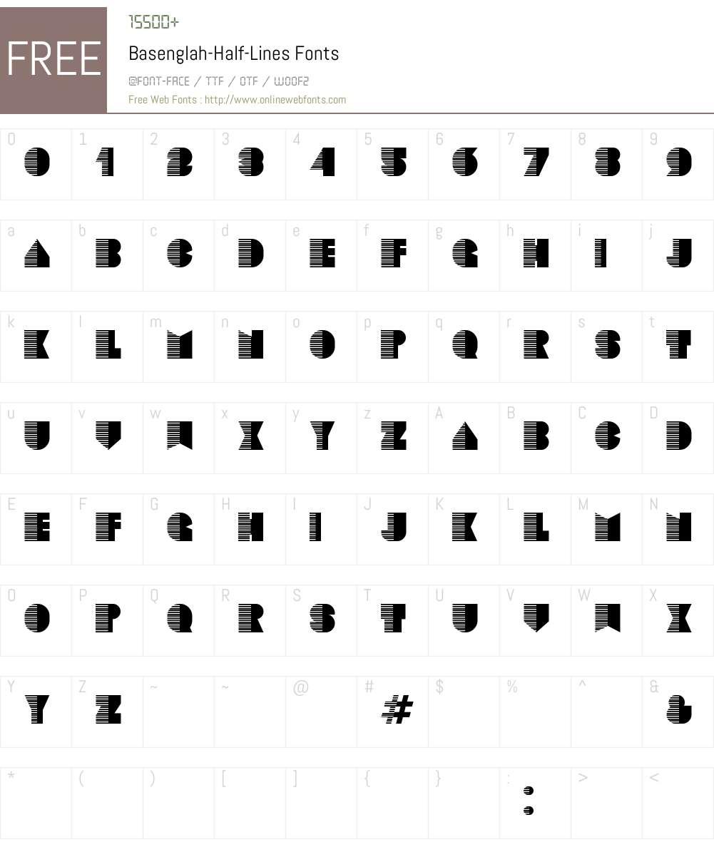 Basenglah Half-Lines Font Screenshots