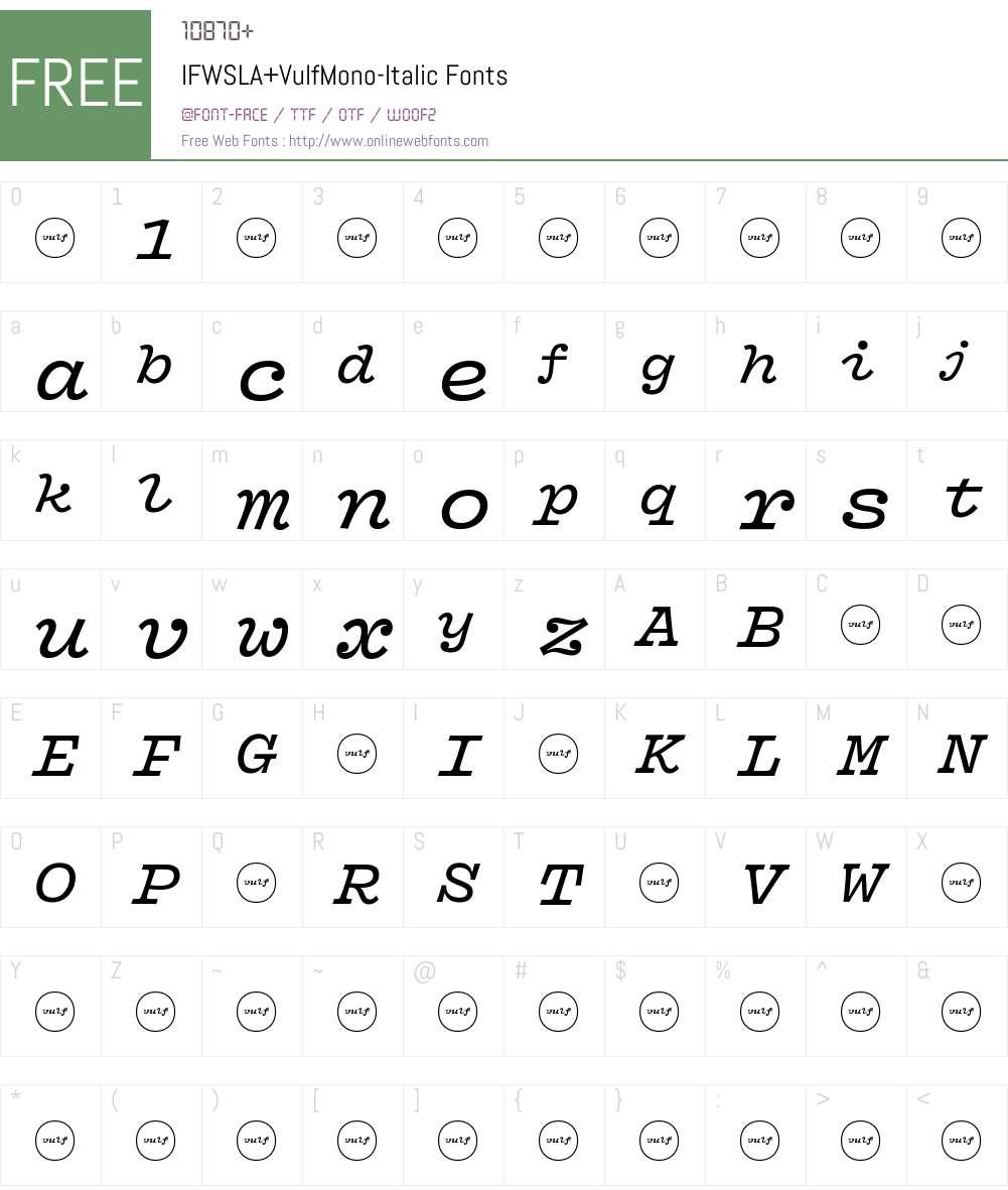 IFWSLA+VulfMono-Italic Font Screenshots