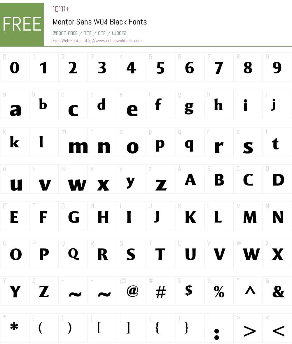 Mentor Sans Font Screenshots