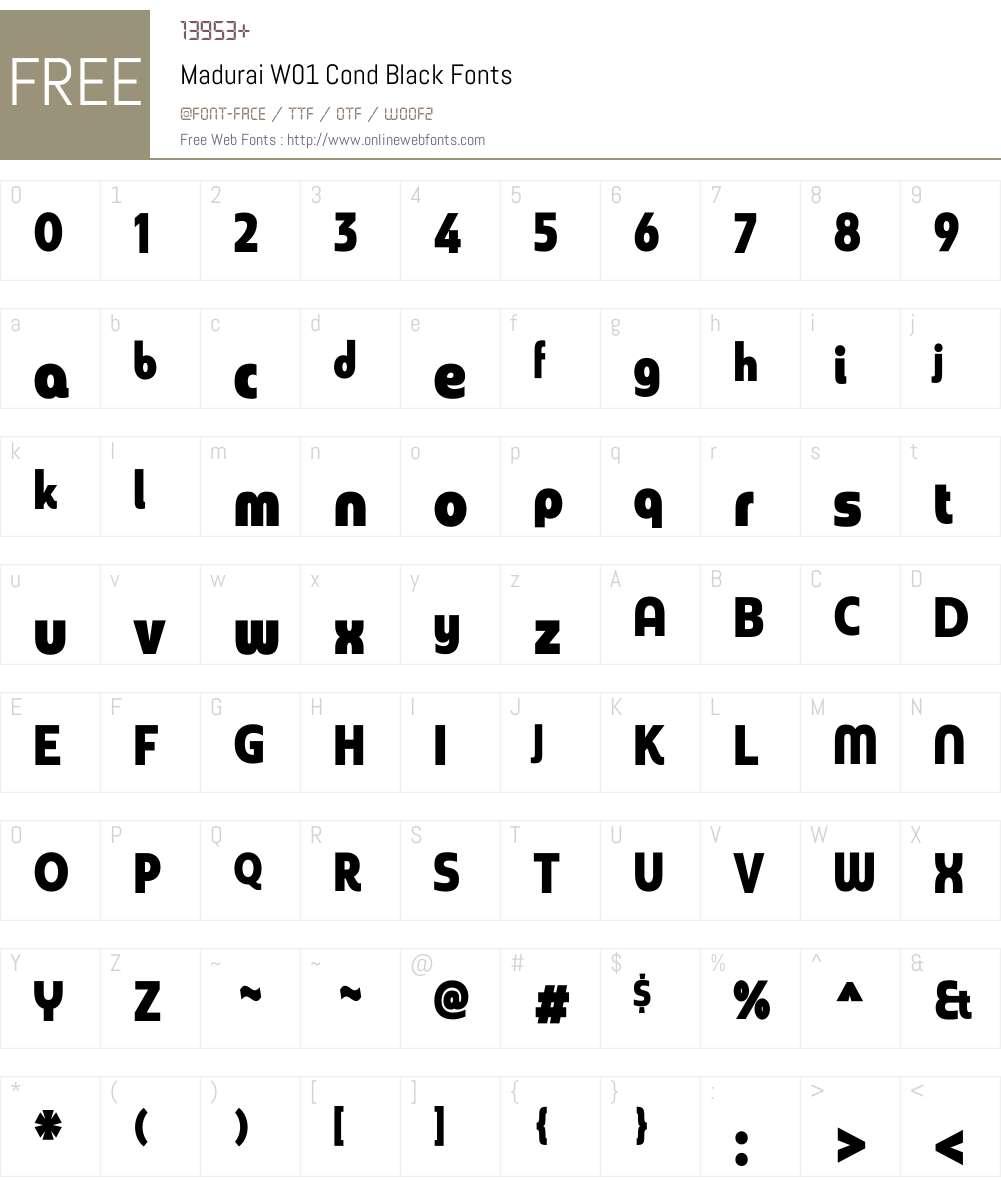 MaduraiW01-CondBlack Font Screenshots