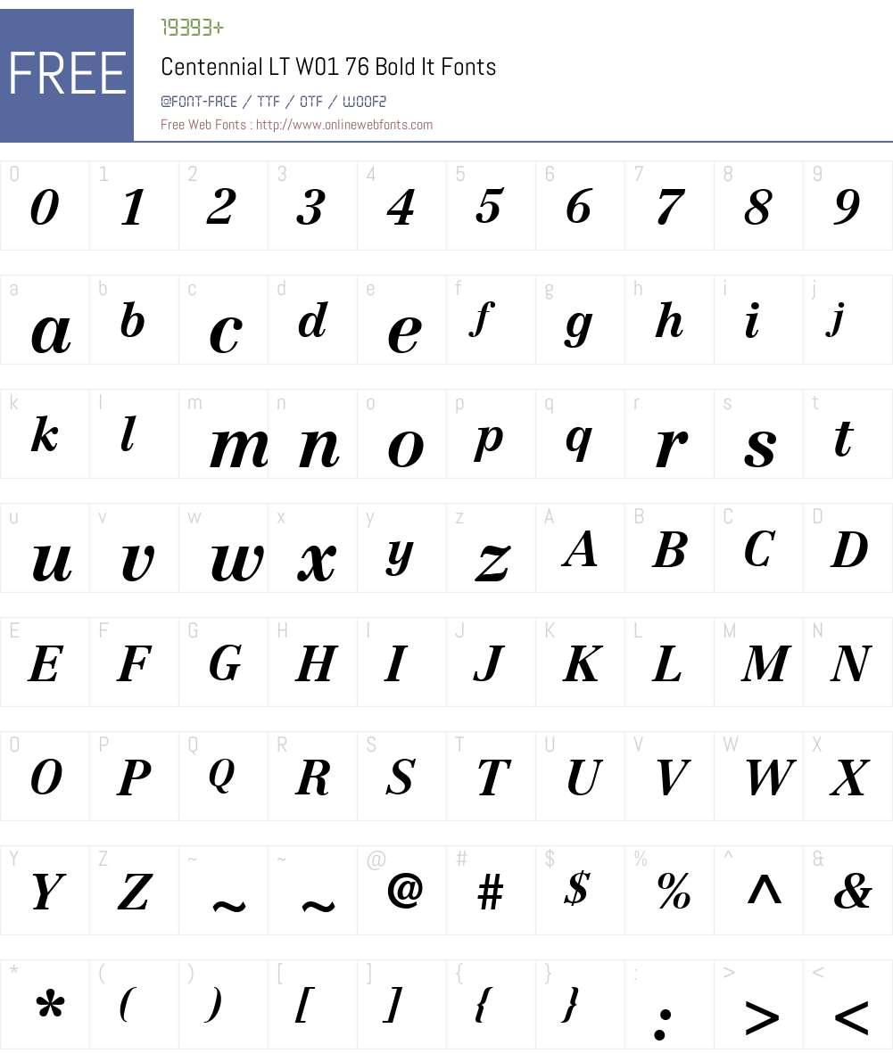 CentennialLTW01-76BoldIt Font Screenshots