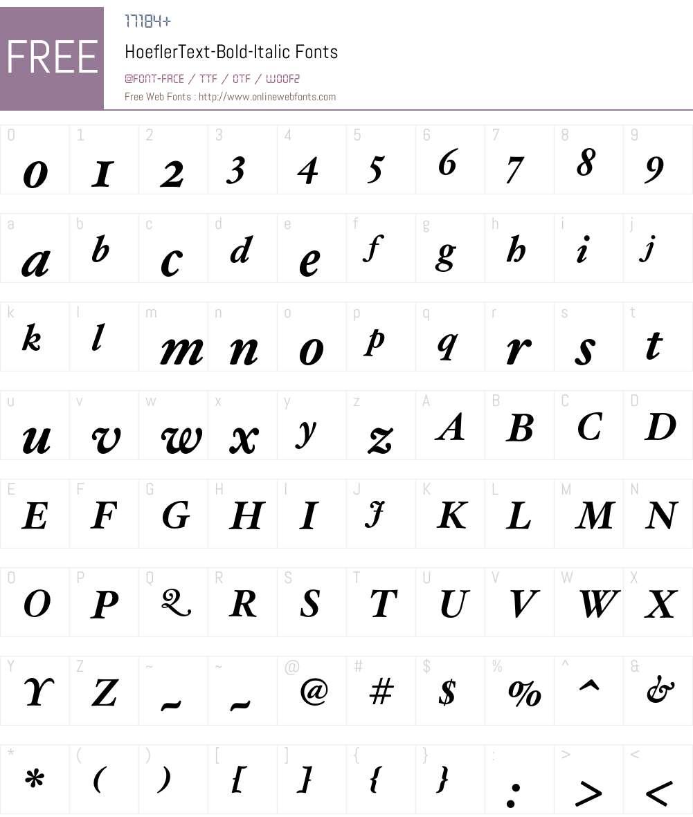 HoeflerText-Bold-Italic Font Screenshots