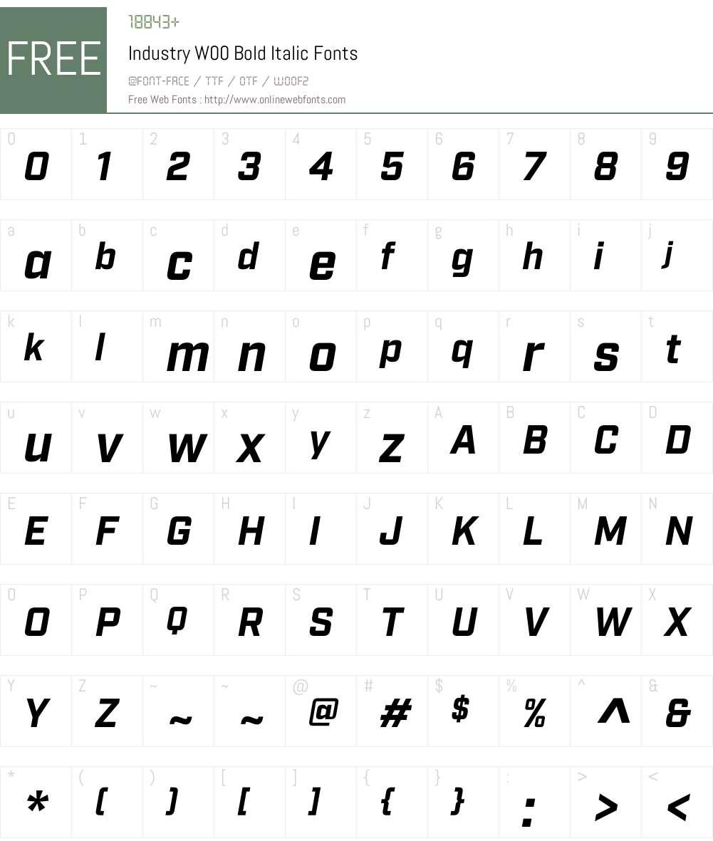 IndustryW00-BoldItalic Font Screenshots