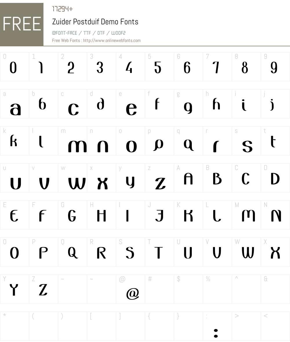 Zuider Postduif Font Screenshots