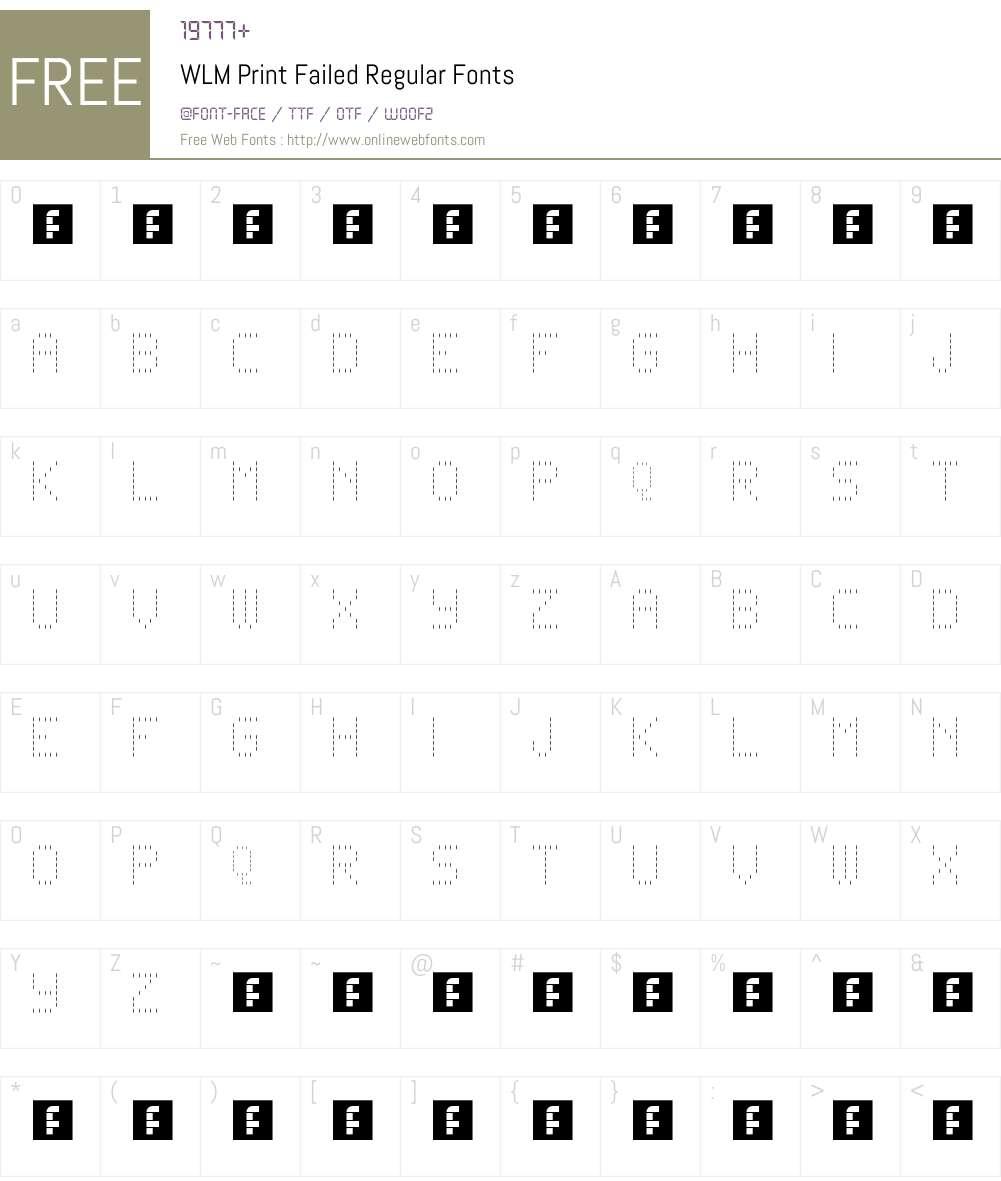 WLM Print Failed Font Screenshots