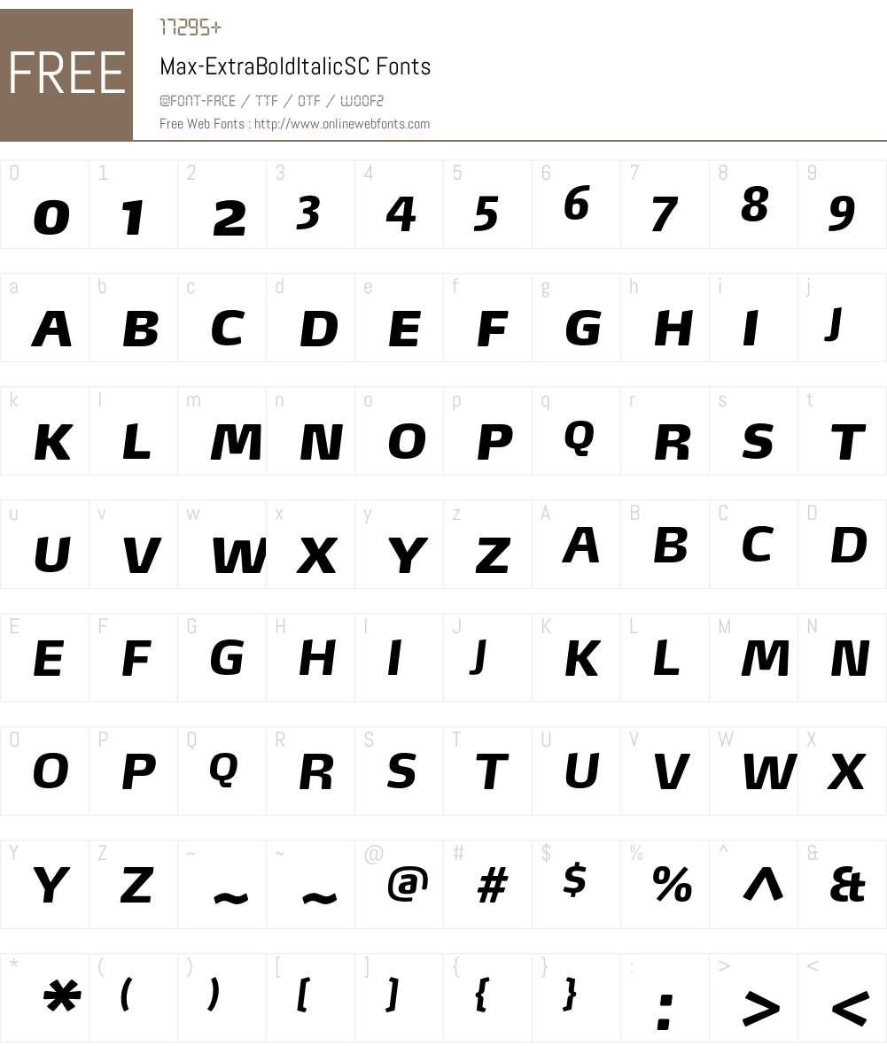 Max-ExtraBoldItalicSC Font Screenshots