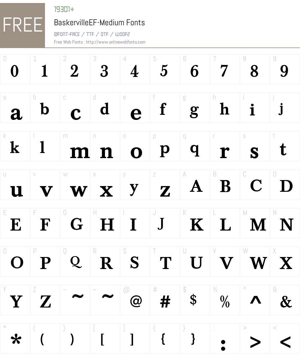 BaskervilleEF-Medium Font Screenshots