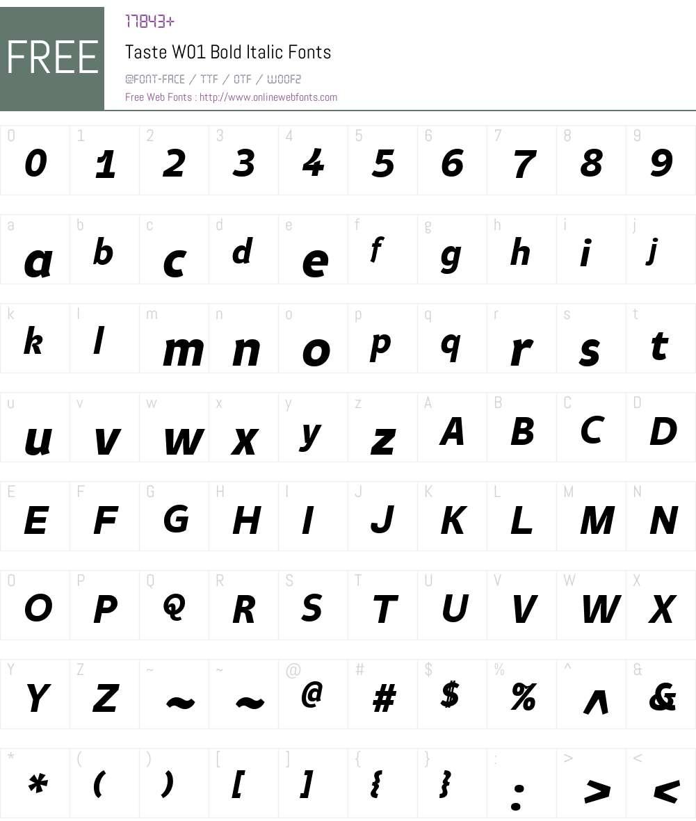 TasteW01-BoldItalic Font Screenshots