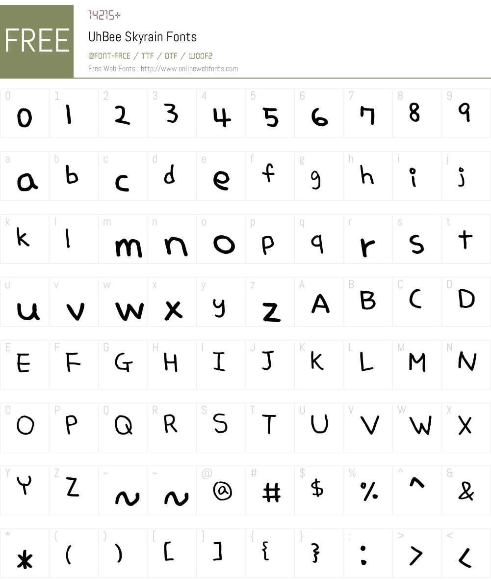 UhBee Skyrain Font Screenshots