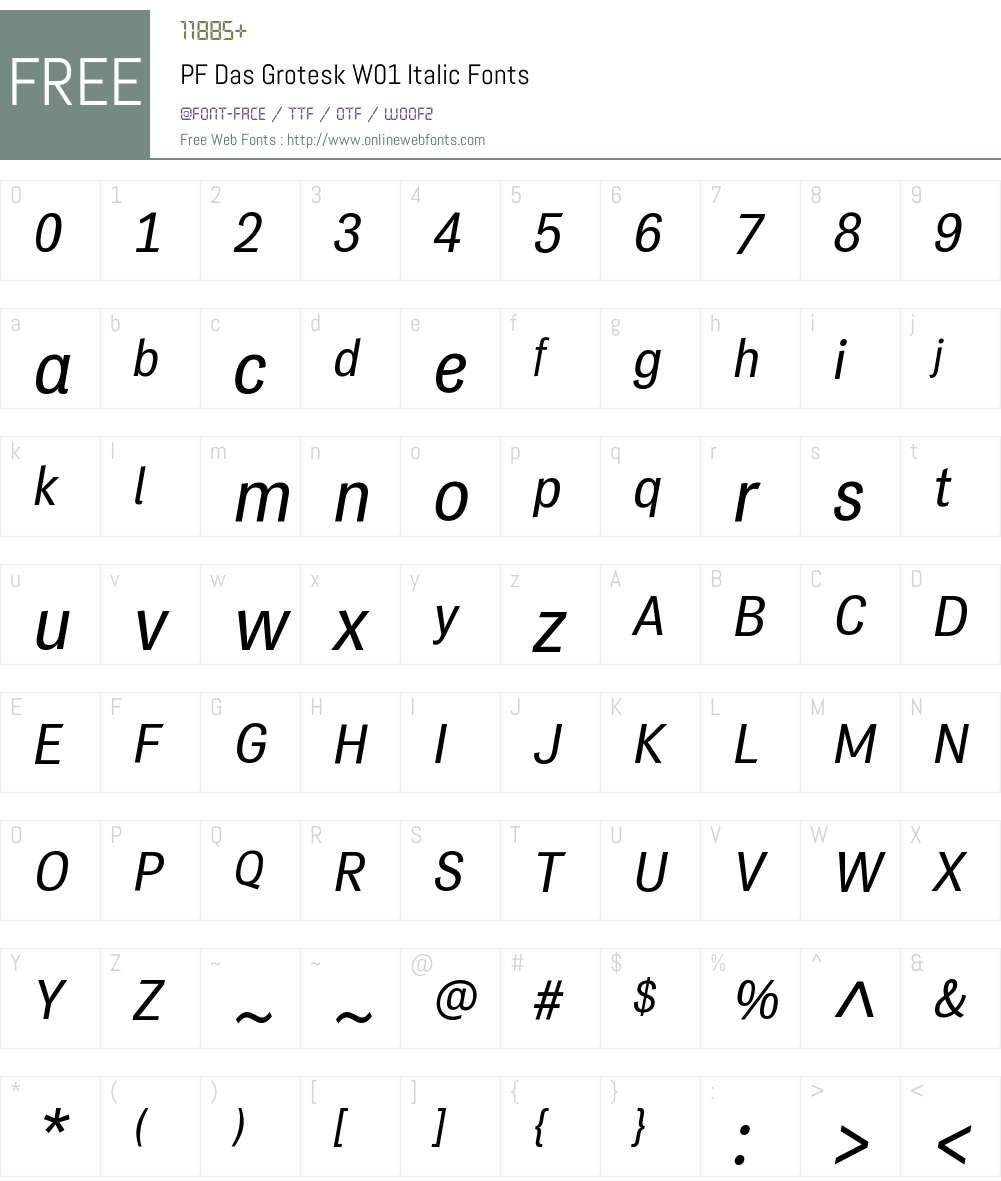 PFDasGroteskW01-Italic Font Screenshots