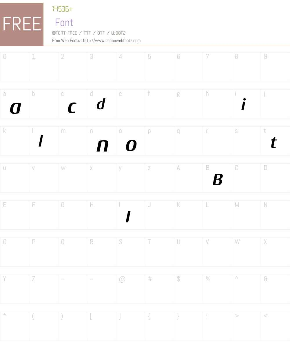 OZJQGO+Conto-BoldItalic Font Screenshots
