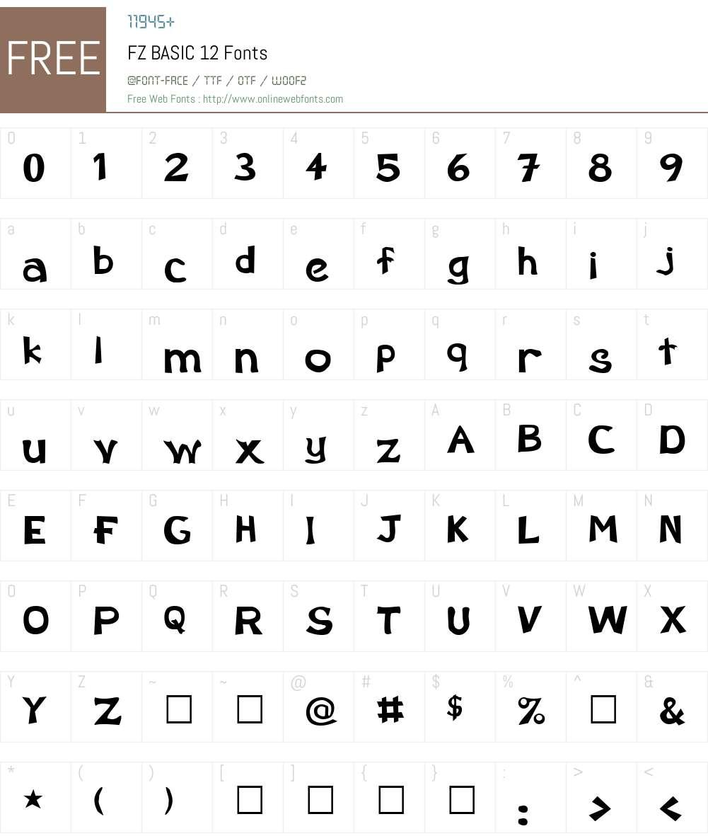 FZ BASIC 12 Font Screenshots