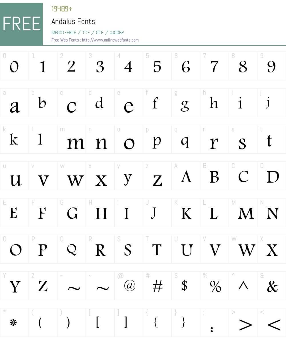 Andalus Font Screenshots