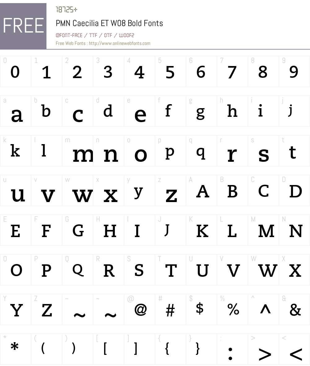 PMN Caecilia eText Font Screenshots