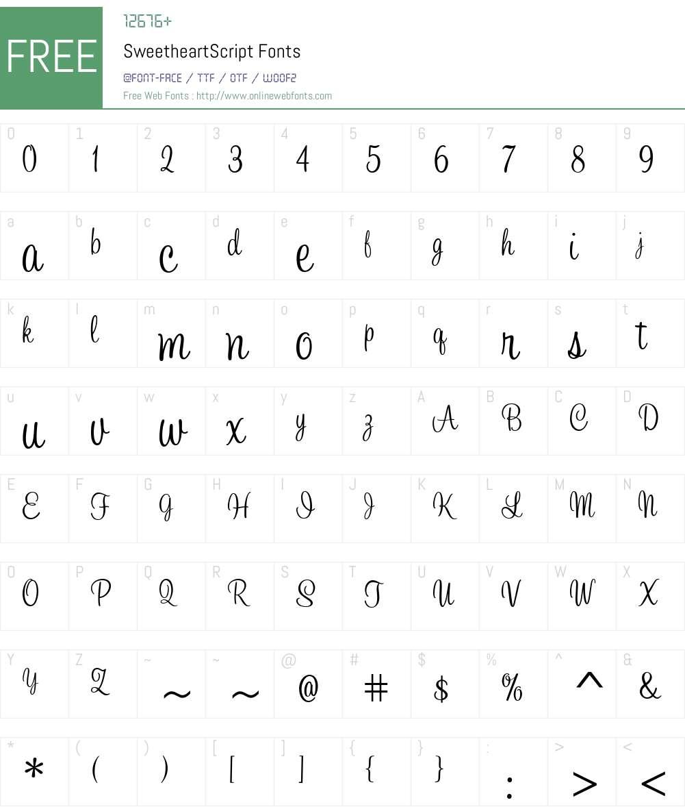 SweetheartScript Font Screenshots