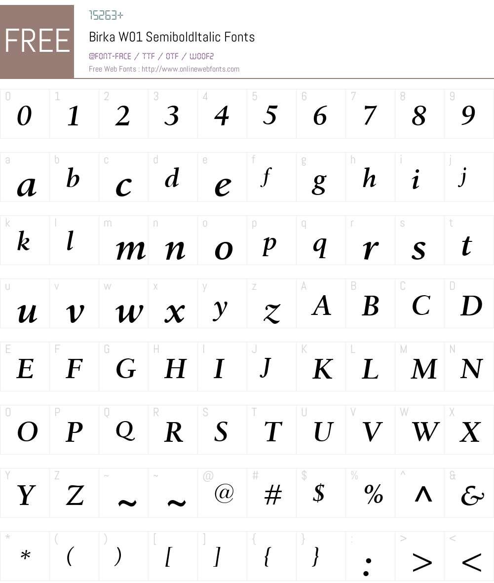 BirkaW01-SemiboldItalic Font Screenshots