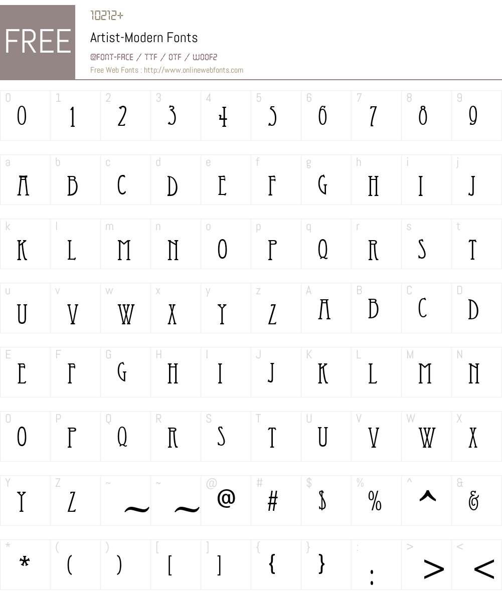 Artist-Modern Font Screenshots