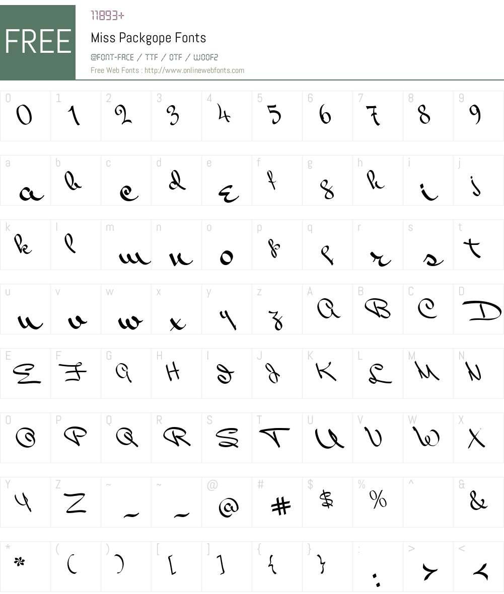Miss Packgope Font Screenshots