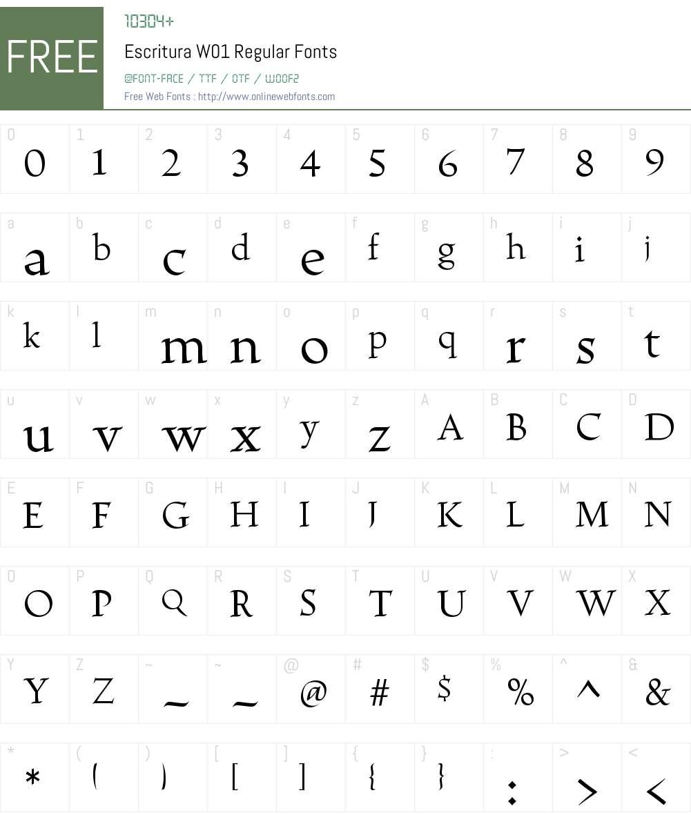 EscrituraW01-Regular Font Screenshots