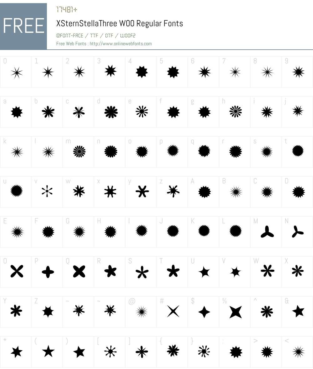 XSternStellaThreeW00-Rg Font Screenshots