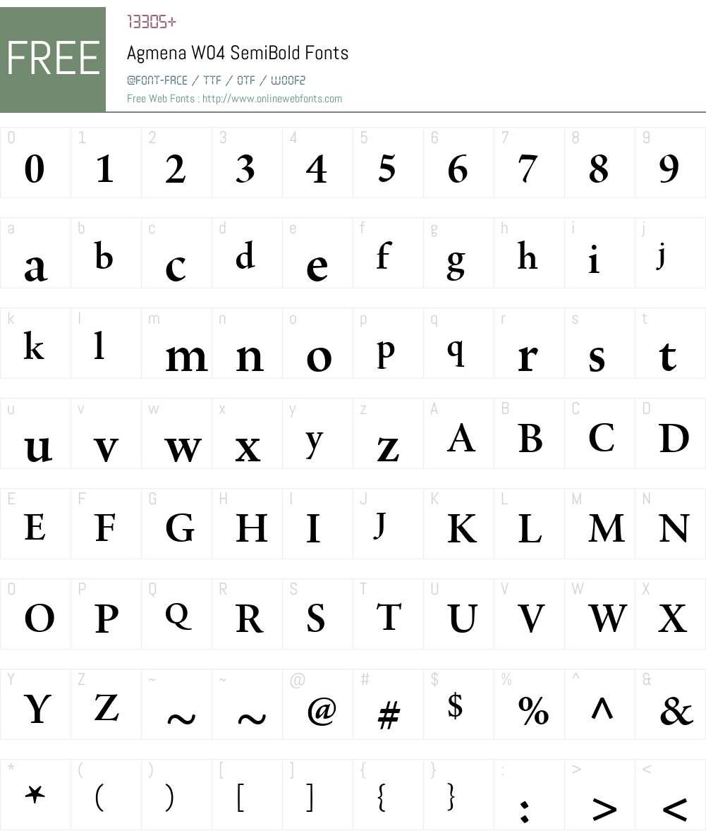 AgmenaW04-SemiBold Font Screenshots