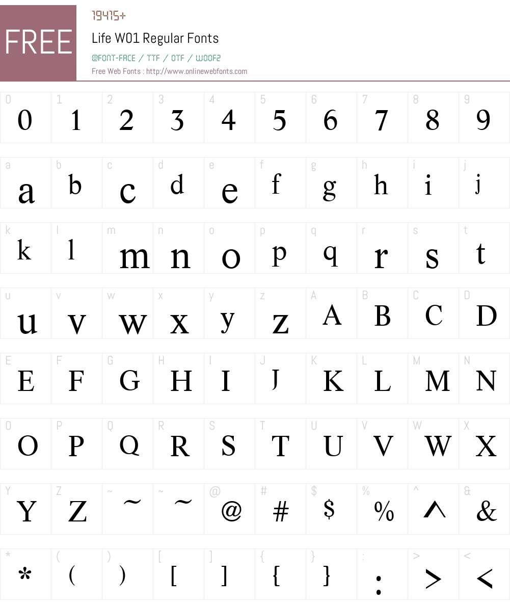 LifeW01-Regular Font Screenshots