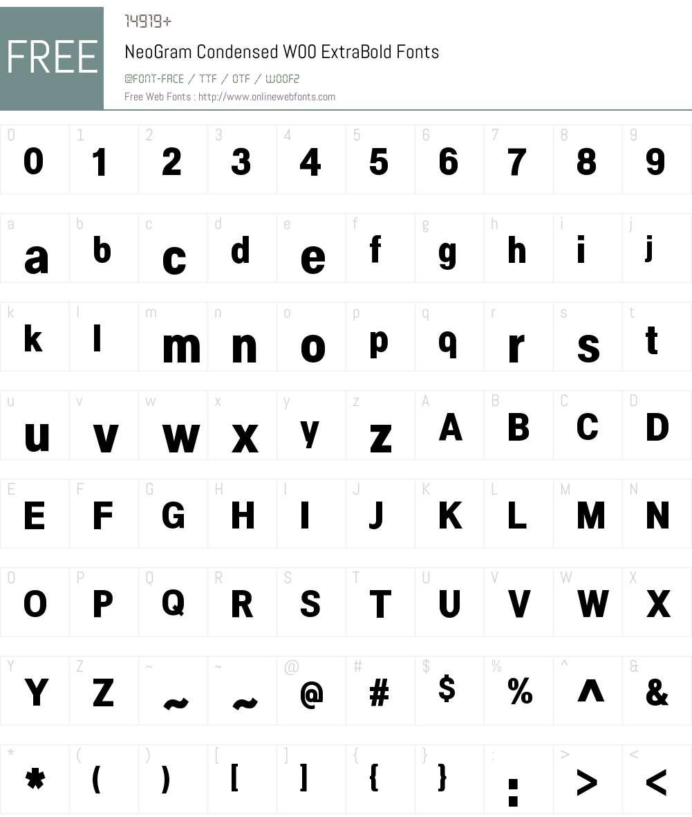 NeoGramCondensedW00-XBold Font Screenshots
