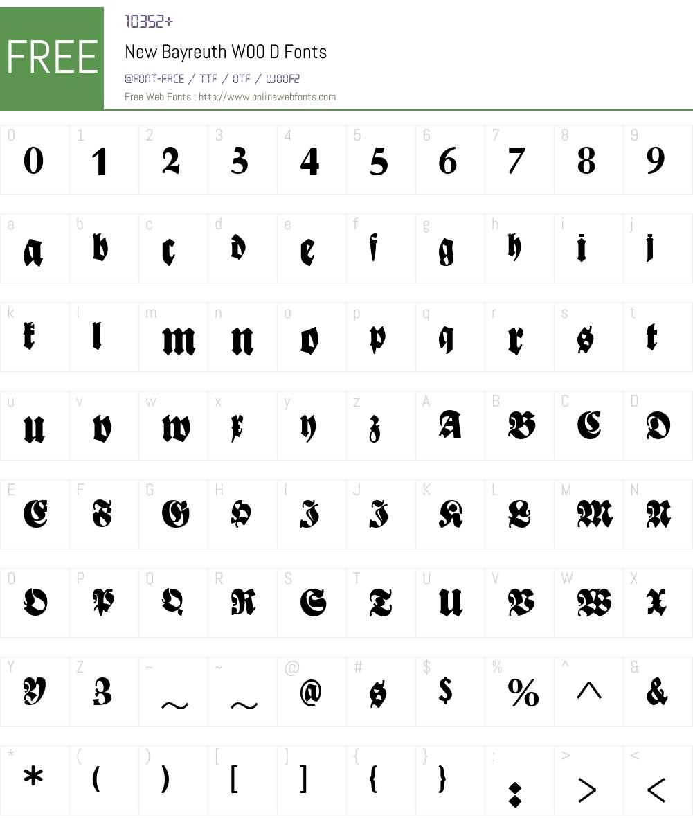 NewBayreuthW00-D Font Screenshots
