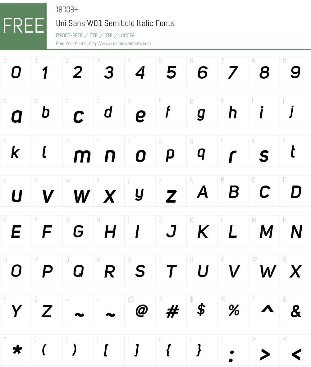 UniSansW01-SemiboldItalic Font Screenshots