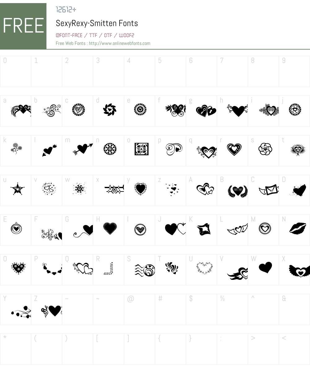 SexyRexy-Smitten Font Screenshots