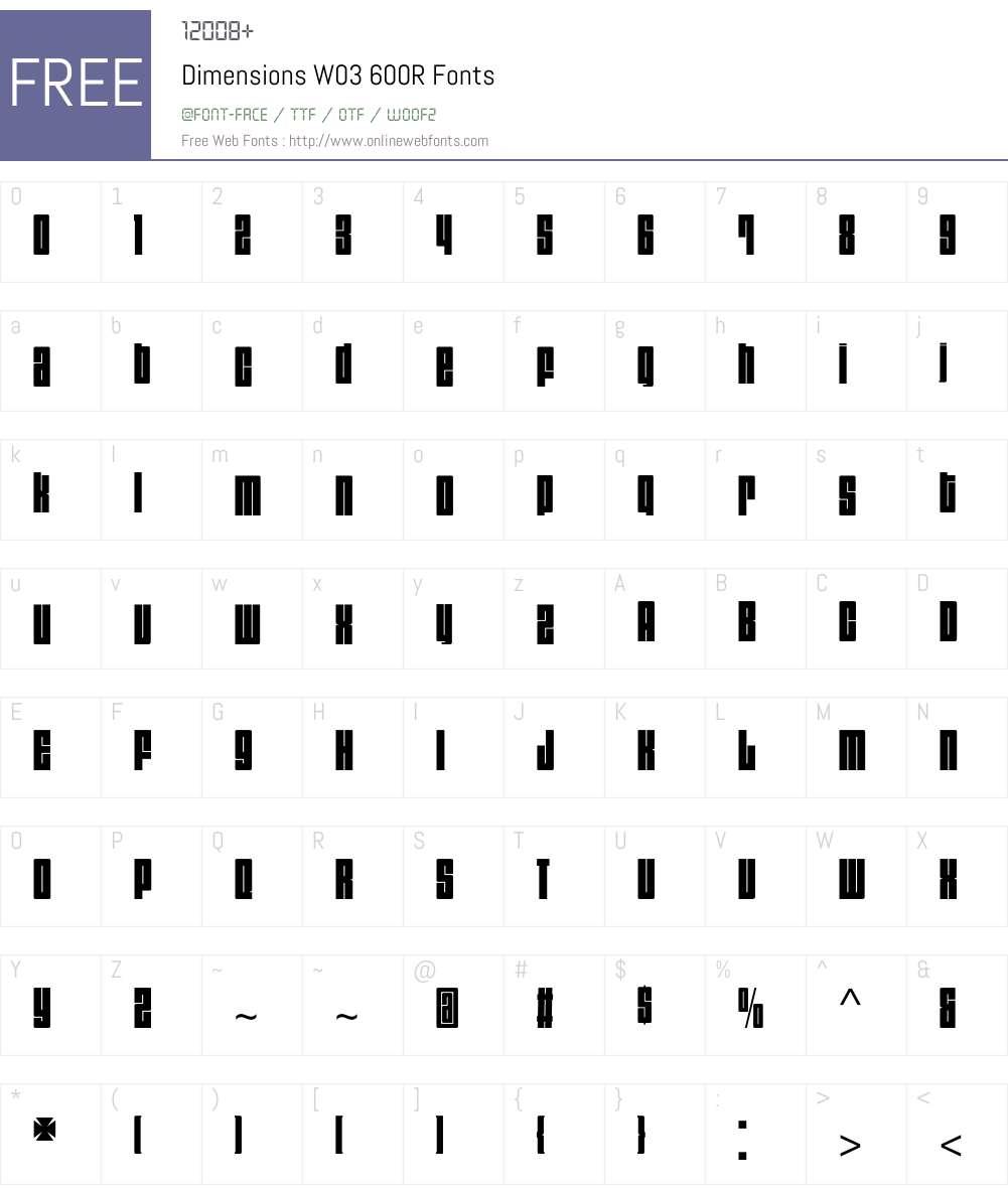 Dimensions Font Screenshots