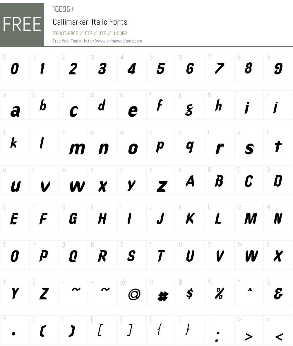 Callimarker Font Screenshots