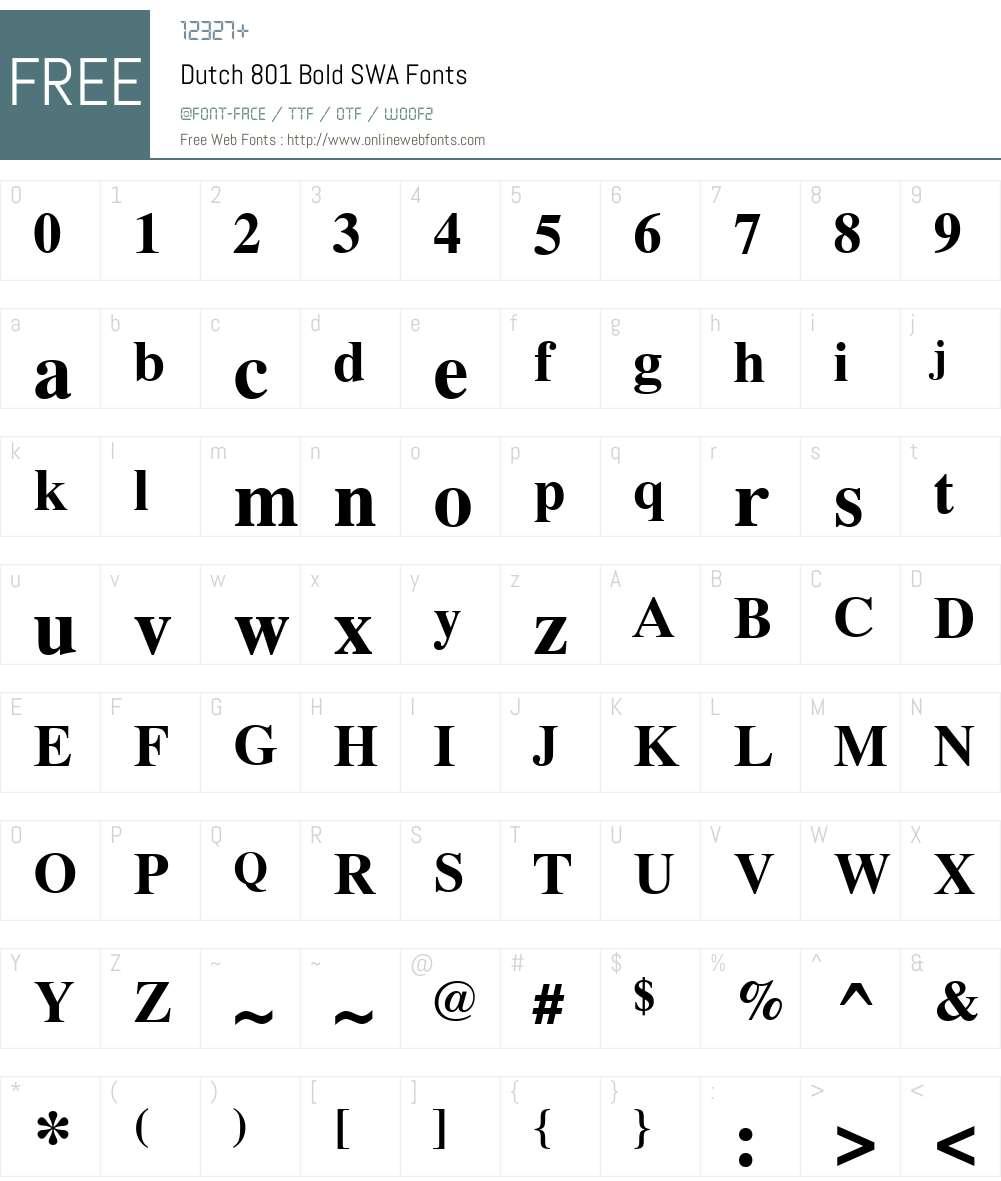Dutch 801 SWA Font Screenshots