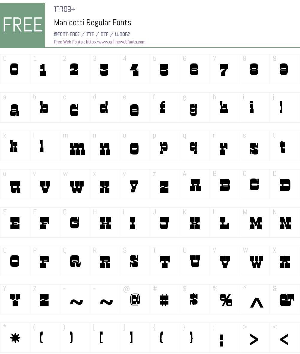 Manicotti Regular Font Screenshots