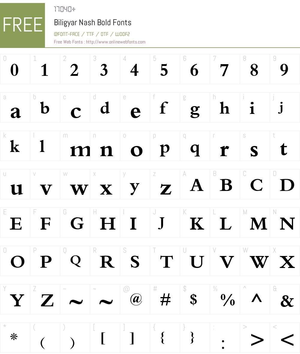 Biligyar Nash Font Screenshots