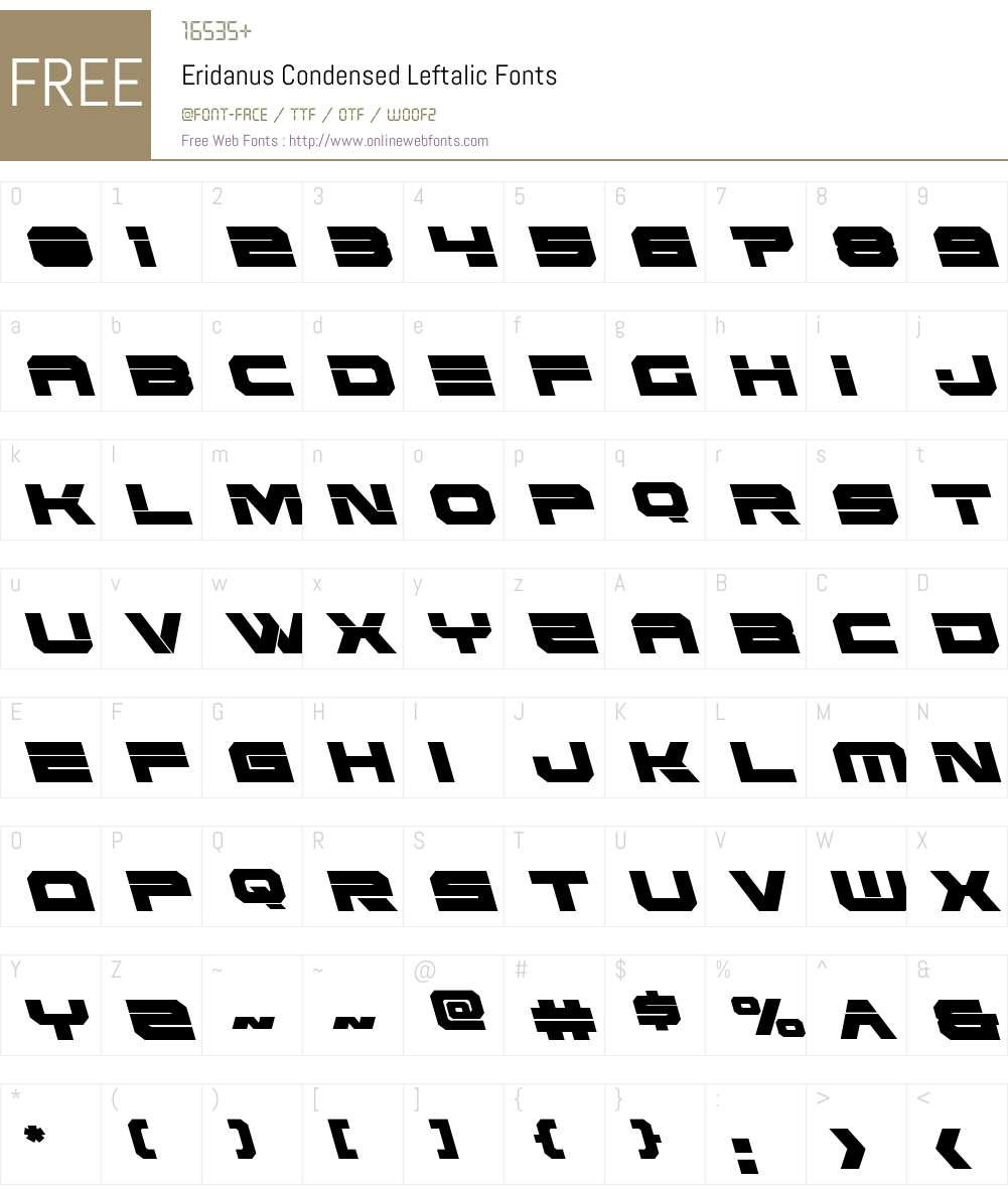 Eridanus Condensed Leftalic Font Screenshots