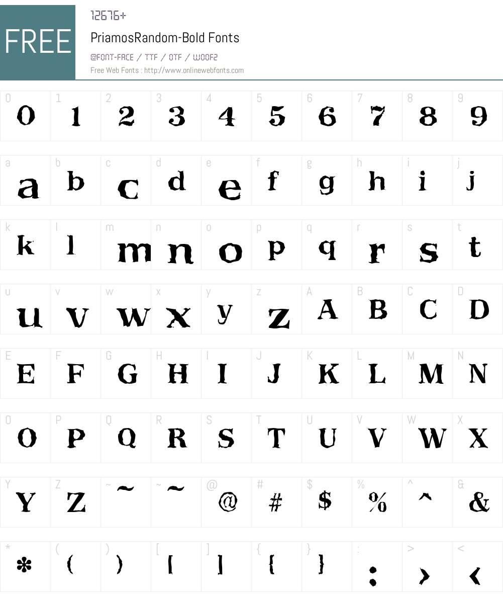 PriamosRandom Font Screenshots