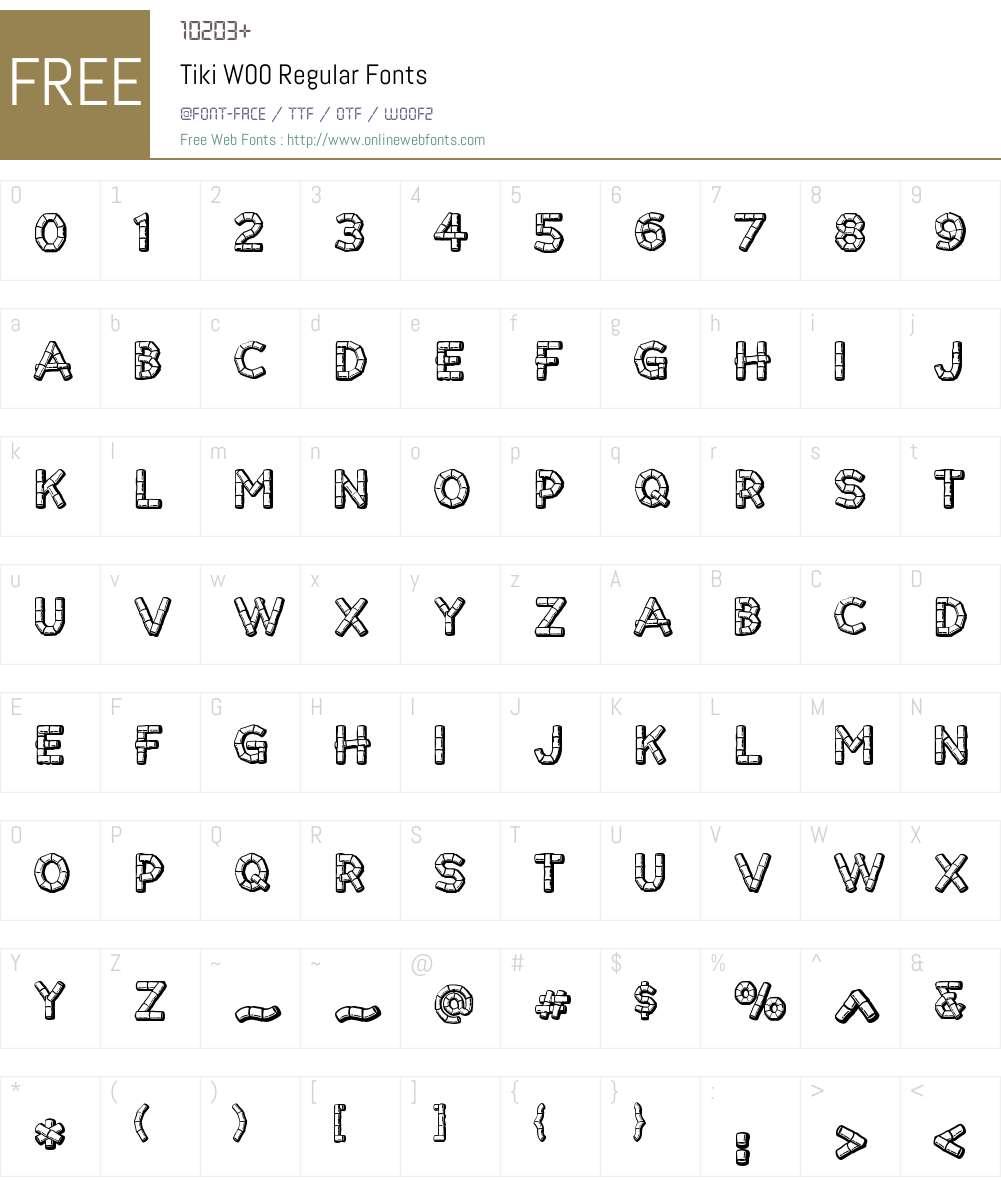 TikiW00-Regular Font Screenshots