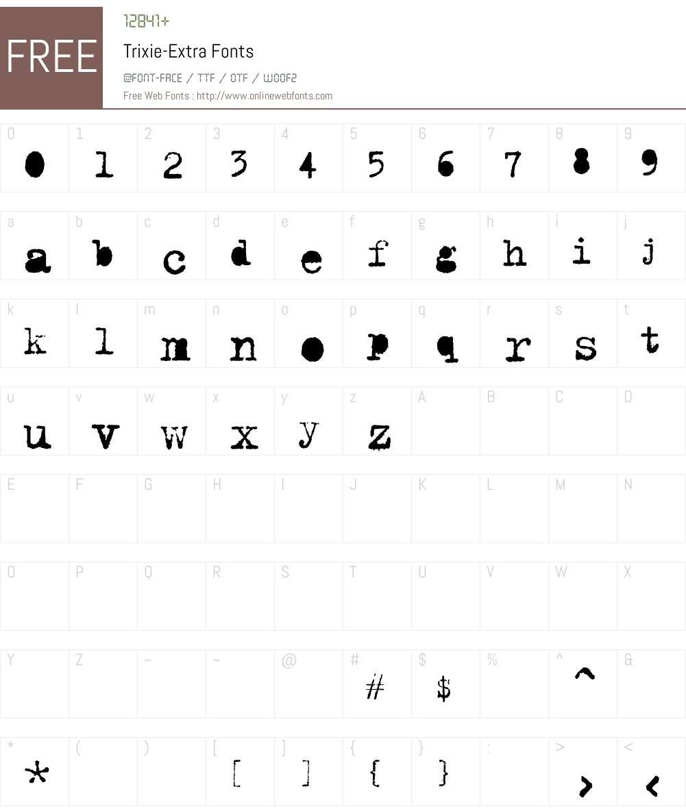 Trixie-Extra Font Screenshots