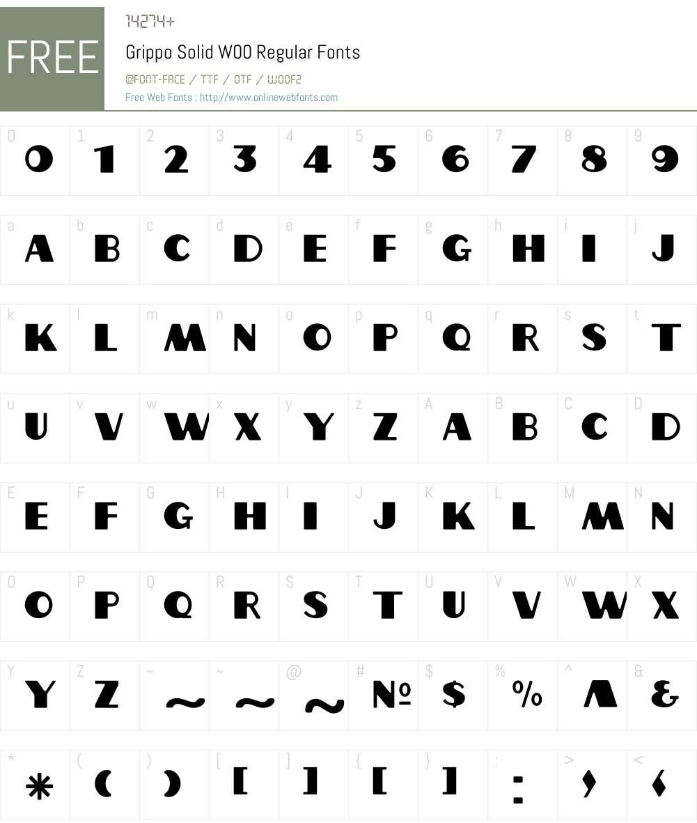 GrippoSolidW00-Regular Font Screenshots