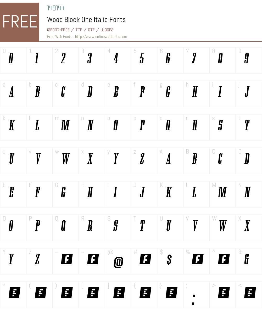 Wood Block One Font Screenshots