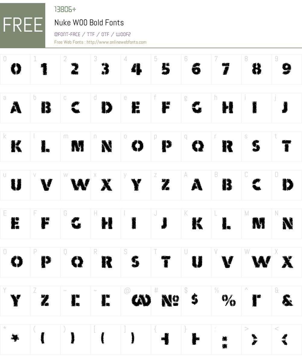 NukeW00-Bold Font Screenshots