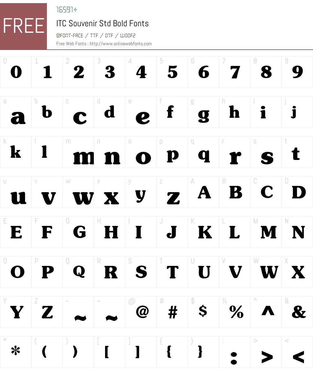 ITC Souvenir Std Font Screenshots