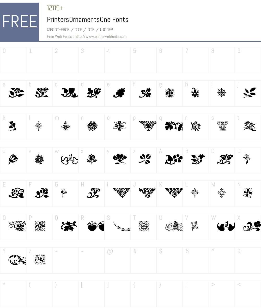 PrintersOrnamentsOne Font Screenshots